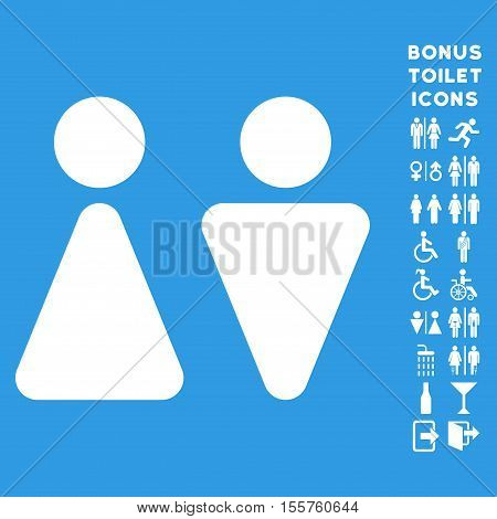 WC Persons icon and bonus male and woman lavatory symbols. Vector illustration style is flat iconic symbols, white color, blue background.
