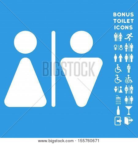 WC Persons icon and bonus male and woman WC symbols. Vector illustration style is flat iconic symbols, white color, blue background.