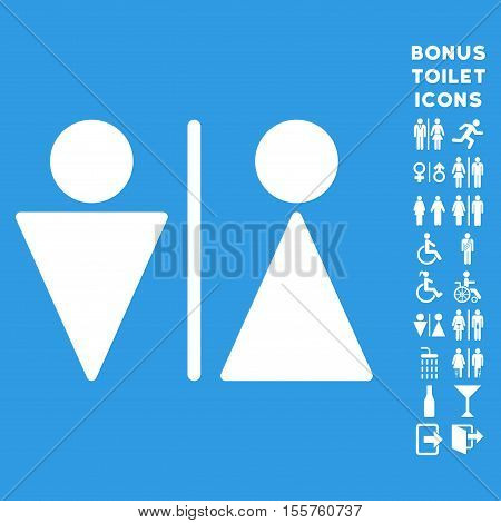 WC Persons icon and bonus man and lady lavatory symbols. Vector illustration style is flat iconic symbols, white color, blue background.
