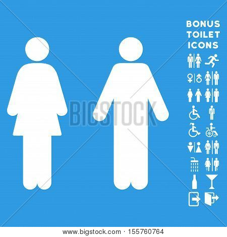 WC Persons icon and bonus gentleman and female toilet symbols. Vector illustration style is flat iconic symbols, white color, blue background.