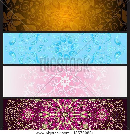 Set colorful gradient banners for design on black eps10