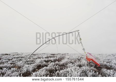 Frozen Vane. Indicator Of Wind Direction And Flow Forces At Mountain