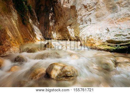 Popular Tourist Route In River Bed Rio Chillar River In Nerja, Malaga, Spain