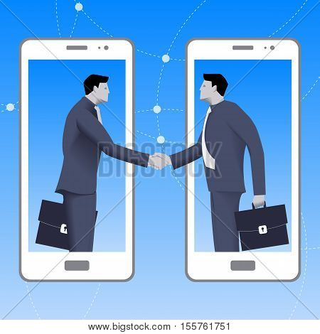 Internet deal business concept. Confident businessmen from smart phone shakes hand of another businessman that comes from another smart phone. Business in web or cloud partnership agreement.