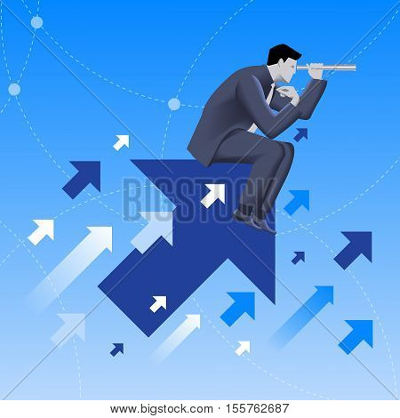 Searching the opportunities business concept. Confident businessman sitting on arrow flying up and watching in looking glass. Search for opportunity contacts new fields development.