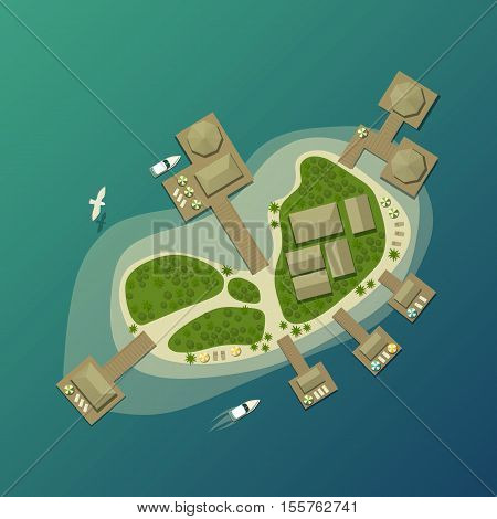 Island top view with tourist beach and umbrella. Tropical lagoon and bungalow on island with bay, tourism paradise island. Ideal for travel agency logo with tropical island, boats, forest on it