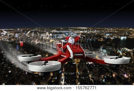 funny Santa on UAV drone delivering on Christmas night