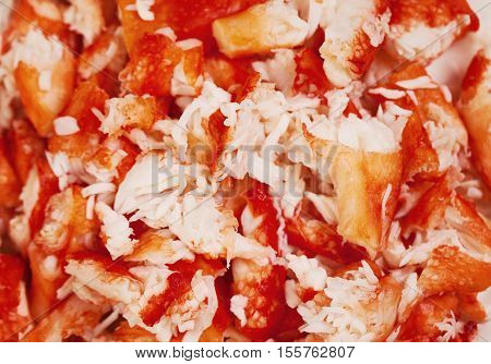 Lobster and Crab Meat Closeup Background. Gourmet Food