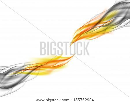 Abstract background with blue smoke absorbing broken orange flames, tearing flames, fiery smoke, vector illustration