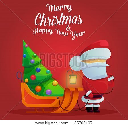 Santa claus with sleigh and christmas tree, fir tree on carriole for new year or christmas eve with santa claus. Perfect for greeting card with new year, logo with santa claus for holidays