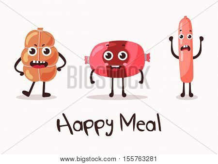 Smiling meat cartoon character. Flank meat roulade and frankfurter sausage and wurst, weenie and beef. Fits good for steakhouse or restaurant, cartoon characters for meat market, store badge