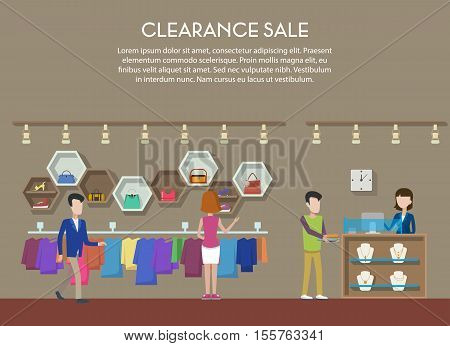 Clearance sale at shop or store, interior view. Cloth and shoes, jewelry or bijouterie on big clearance sale or event. May be used for clearance tag or shop banner, store badge or logo