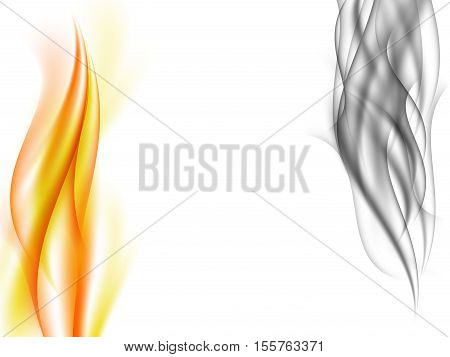 Abstract background with vertical grey smoke and orange flames in front of each other, fiery smoke, vector illustration