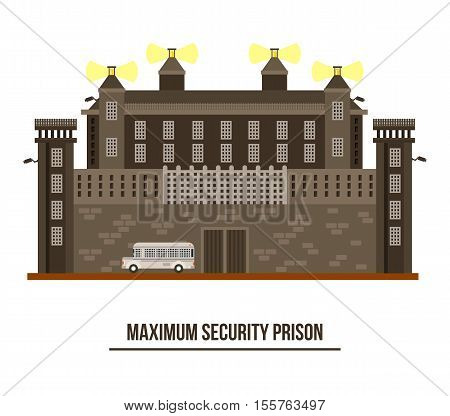 Exterior view on prison building, jail architecture. Maximum security prison with barbed wire on fence and towers. Outdoor exterior view on prison building, federal prison construction. Criminal theme