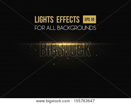 Light effect made by sunset for background. Sunshine or sun beams or rays light effect going through lens. May be used for flyer or backdrop, abstract light effect template, poster or placard
