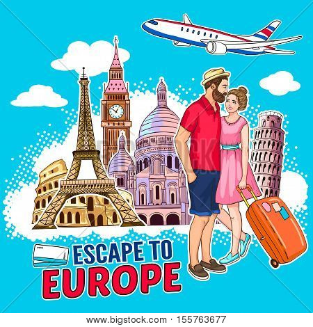 Travel around europe design with city buildings airplane loving couple on blue background with clouds vector illustration