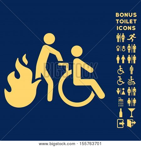 Fire Patient Evacuation icon and bonus man and woman WC symbols. Vector illustration style is flat iconic symbols, yellow color, blue background.