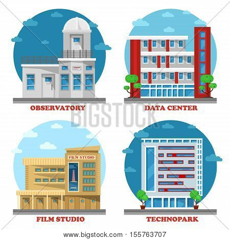 Observatory building and movie studio architecture, technopark facade and data center or centre building. May be used for set of buildings or structure, construction exterior view, technology theme