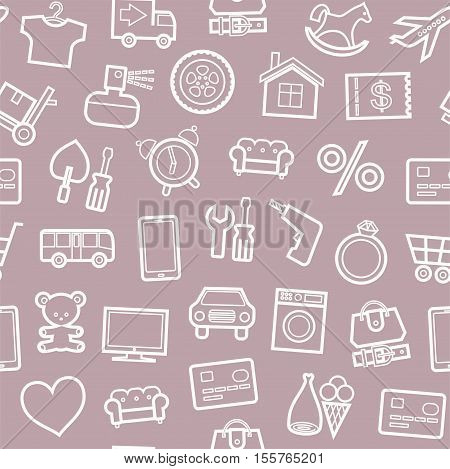 Categories of goods, Internet-shop, seamless pattern, gray and pink. Vector white outline icons industrial goods in the gray-pink background. Colored, flat background.