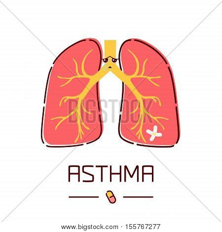 Asthma awareness poster with sad cartoon lungs on white background. Human body organs anatomy icon. Medical concept. Vector illustration.