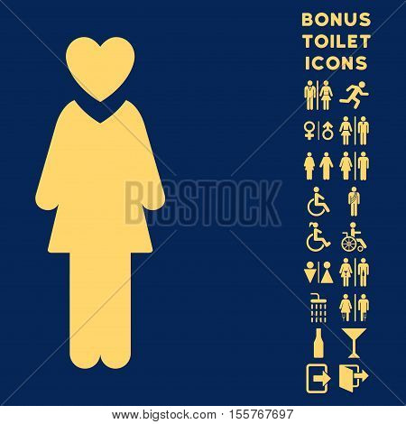 Mistress icon and bonus male and woman toilet symbols. Vector illustration style is flat iconic symbols, yellow color, blue background.