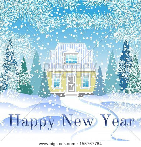 winter card with a house in the woods. greeting card happy new year