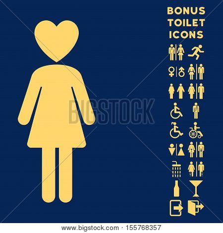 Mistress icon and bonus man and female WC symbols. Vector illustration style is flat iconic symbols, yellow color, blue background.