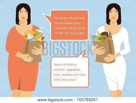 Fat woman and slim young woman standing on a blue background. Women are holding various packages of useful and harmful food. Lifestyle choice.