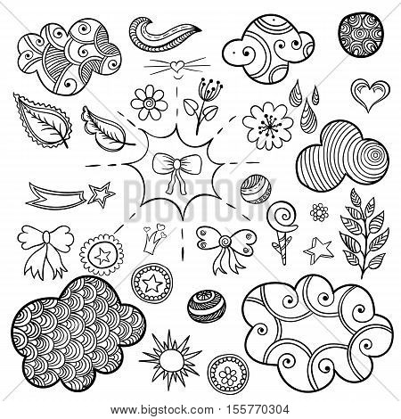 Vector set of fashionable patches elements like heart, flower, mail, cloud, leaf, sun. Vector hand drawn cute and funny stikers kit. Modern doodle pop art sketch badges and pins for coloring book