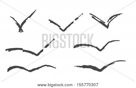 Flyind birds isolated silouette vector art background