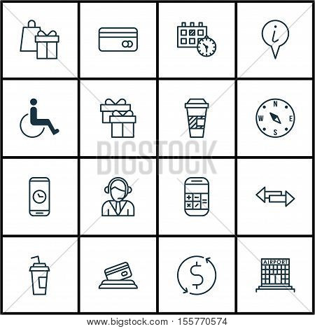 Set Of Transportation Icons On Appointment, Airport Construction And Takeaway Coffee Topics. Editabl
