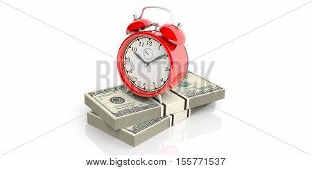 3D Rendering Alarm Clock On 100 Dollar Banknotes