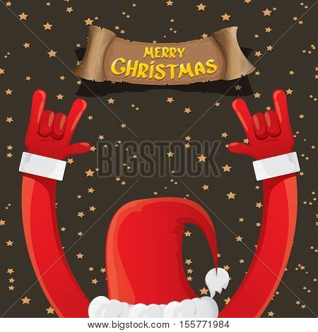 Santa Claus hand rock n roll gesture icon vector illustration. Christmas Rock n roll concert poster design template or greeting card. Rockstar concept