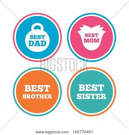 Best mom and dad, brother and sister icons. Weight and flower signs. Award symbols. Colored circle buttons. Vector