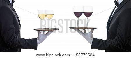 Waiters Offering Red And White Wine