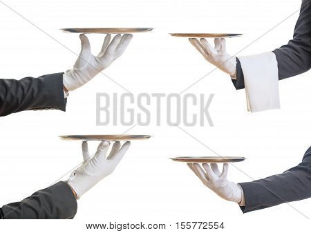 Misc Waiters hands holding an empty trays