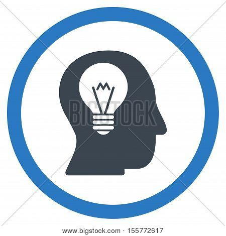 Intellect Bulb vector bicolor rounded icon. Image style is a flat icon symbol inside a circle, smooth blue colors, white background.