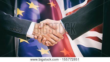 Handshake On Eu - Uk  Flags Background