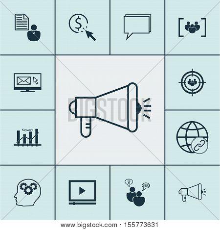 Set Of Seo Icons On Keyword Optimisation, Video Player And Connectivity Topics. Editable Vector Illu