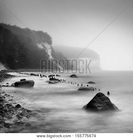 The Baltic Sea coast in Sassnitz on the island Ruegen during rainy day Northern Germany. poster