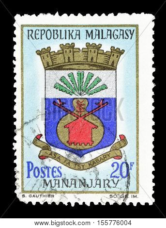 MADAGASCAR-CIRCA 1967 : Cancelled postage stamp printed by Madagascar, that shows Arms of Mananjary.