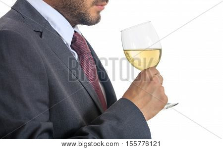 Man In Suit Drinking White Wine