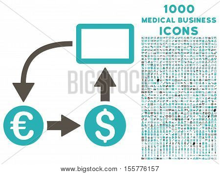 Cashflow Euro Exchange vector bicolor icon with 1000 medical business icons. Set style is flat pictograms, grey and cyan colors, white background.