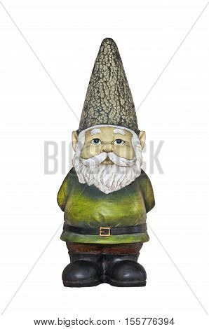 Closeup of Gnome with sparkled hat and green suit with no background