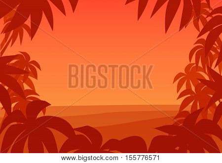 Tropical palm background. Sunset on summer beach. Summer tropical palm tree leaves vector border. Tropical beach summer print. Summer poster