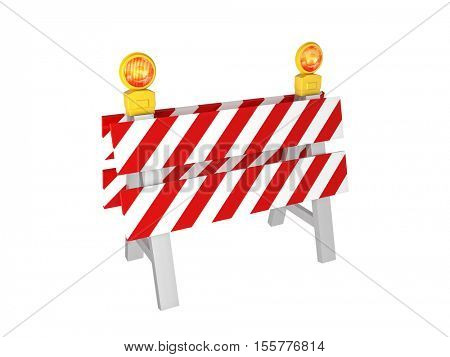 road barrier 3d rendering isolated on white