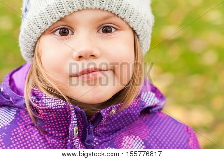 Funny Smiling Caucasian Little Girl, Close-up