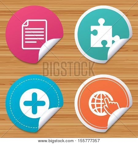Round stickers or website banners. Plus add circle and puzzle piece icons. Document file and globe with hand pointer sign symbols. Circle badges with bended corner. Vector