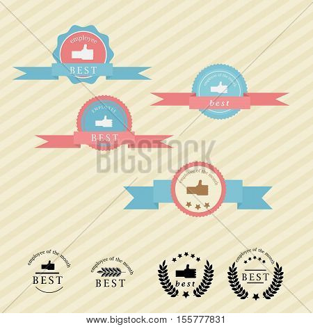 typographic emblem in retro style. The best employee . employee of the month