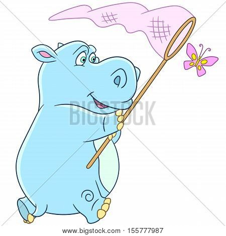 Cute and happy cartoon hippo (hippopotamus behemoth) and butterfly isolated on white background. Childish vector illustration and colorful book page for kids.